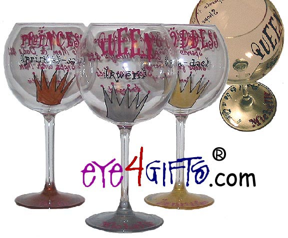 the royals wine glass hand painted personalized wine glass