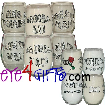 eye4gifts.com Personalized Wedding Party Stemless Wine Glasses ...
